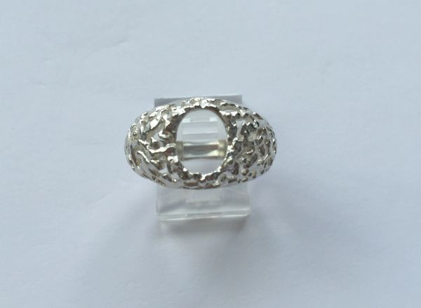 Sterling Silver Oval Cabochon Pre-Notched Ring Freeform Setting Size 6-14 (7x5-18x13mm)
