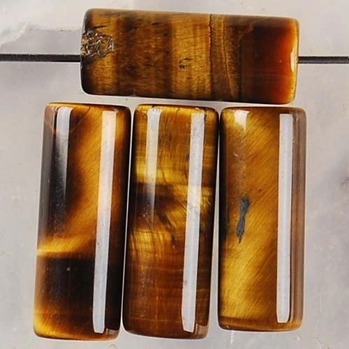 (4) 16x6mm Yellow Tiger Eye Column Pendant Bead -Our genuine tiger eye beads are one of a kind!