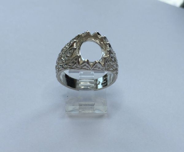 Sterling Silver Oval Cabochon Pre-Notched Donello Ring Setting Size 9, 10, 11 (10x8-18x13mm)