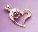 14kt Gold or Sterling Silver Heart Fancy Pendant Setting (4-6mm)