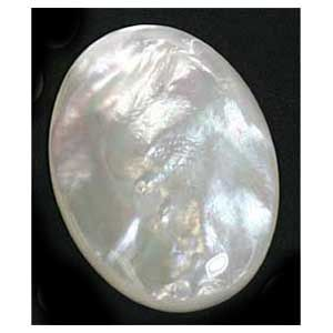 OVAL CABOCHON PEARLESCENT WHITE GENUINE MOTHER OF PEARL (8X6mm - 18x13mm)