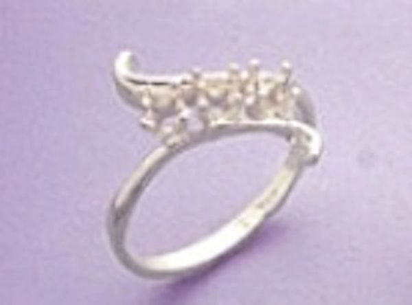 Sterling Silver Round Cluster Style Pre-Notched Ring Setting Size 4-9