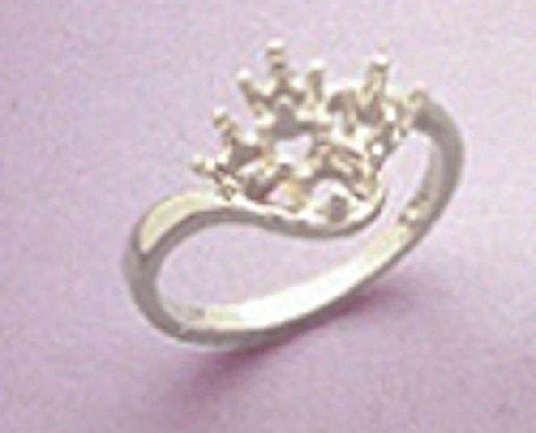 Sterling Silver Round 4-Stone Cluster Style Pre-Notched Ring Setting Size 4-9