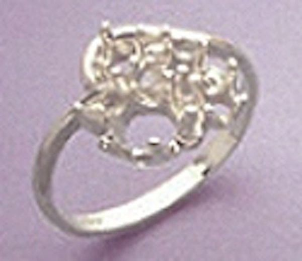 Sterling Silver Oval Accented Dinner Pre-Notched Ring Setting Size 4-9