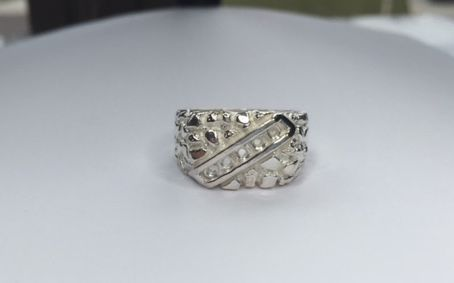 Sterling Silver Round Men's Pre-Notched 5-Stone Channel Style Ring Setting Size 8-12