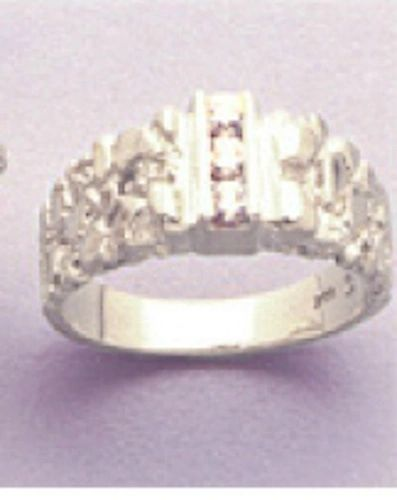 Sterling Silver Round Men's Pre-Notched 3-Stone Channel Style Ring Setting Size 8-12