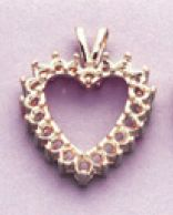 14kt Gold or Sterling Silver Heart Cluster Pendant Setting