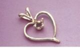 14kt Gold or Sterling Silver Heart Wire Single Stone Pendant Setting
