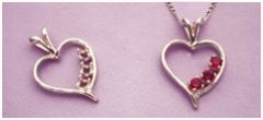 14kt Gold or Sterling Silver Triple Stone Wire Heart Pendant Setting