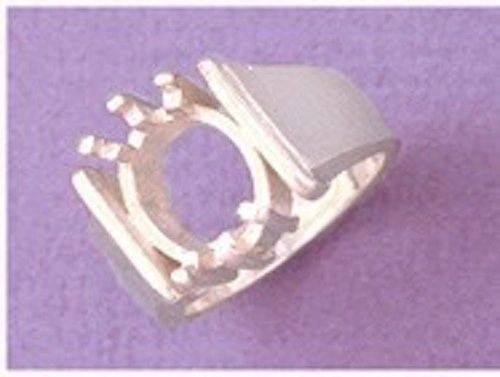 12x10mm Sterling Silver Oval Men's Pre-Notched Inset Style Ring Setting Size 7-14