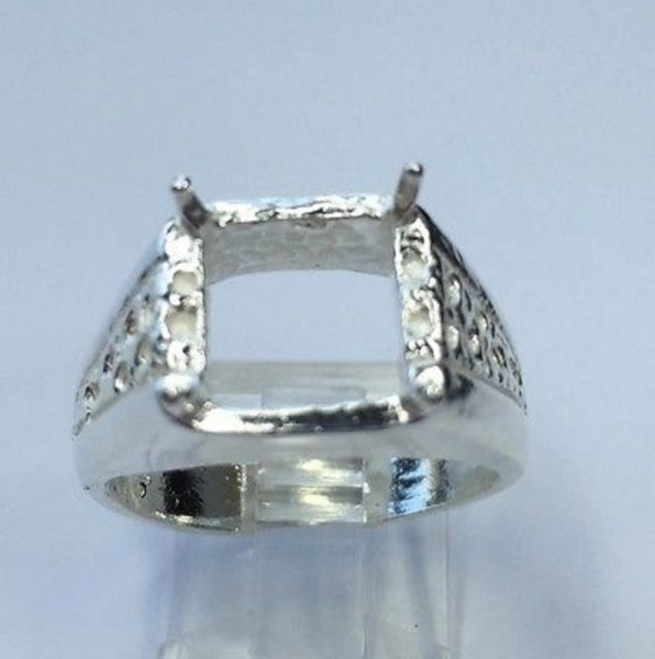10x10mm Sterling Silver Octo-Square Men's Pre-Notched Style Ring Setting Size 7-14