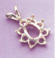 14kt Gold or Sterling Silver Light Pear Cluster Pendant Setting (8x5mm)