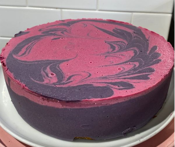 DRAGONFRUIT AND BLACKBERRY MARBLE RAW CAKE (while in season, pick up only)