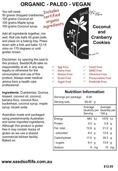 Coconut and Cranberry Cookie Premix