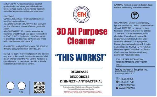 En Kay 3D All Purpose Cleaner 4L - 4/CS