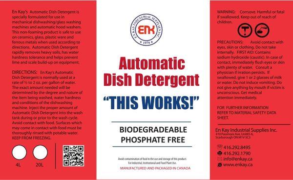 En Kay Automatic Dish Detergent- 4L - 4/CS
