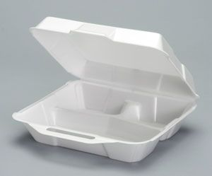 Foam Hinged 3 Compartment Medium Hi-Volume Dinner Container - [23300] - 200/CS