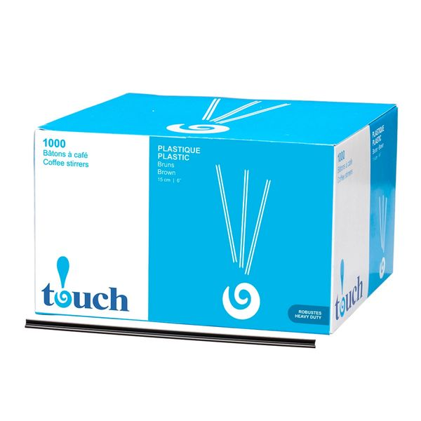 "Touch - 6"" Plastic Coffee Stir Sticks - [92126] - 1000/Box"