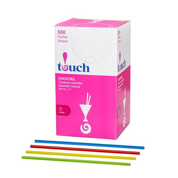 "Touch - 6"" Assorted Cocktail Straws - [92780] - 500/Box"