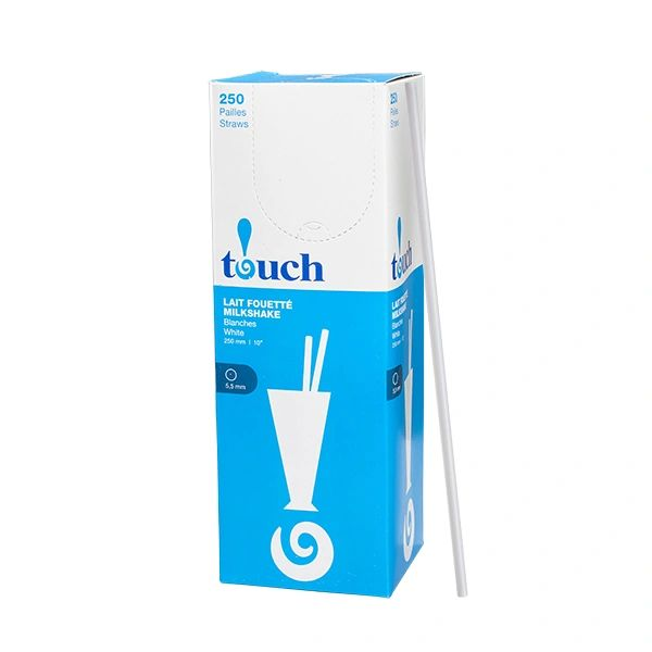 "Touch - 10"" White Milkshake Straws - [92056] - 250/Box"