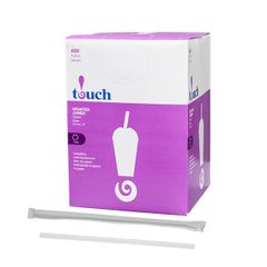 "Touch - 8"" Clear Jumbo Straws - [924989] - 400/Box"