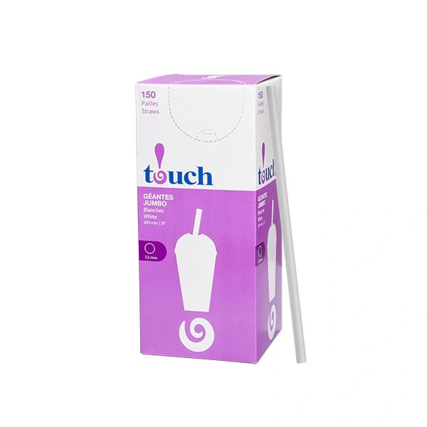 "Touch - 8"" White Jumbo Straws - [920879] - 150/Box"