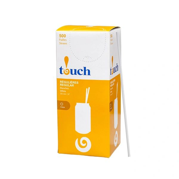 "Touch - 8"" Regular White Unwrapped Straws - [92037] - 500/Box"