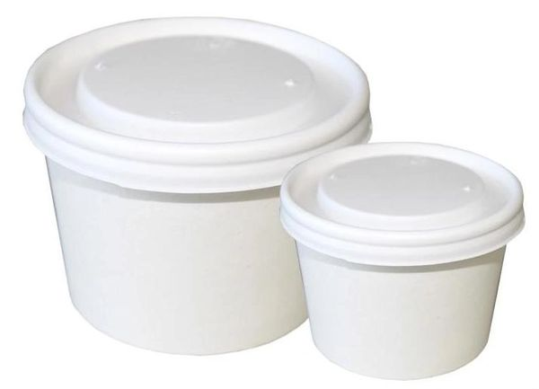 Lids for 5oz Plain RR Paper Food Containers - Opaque Lids - 500/CS