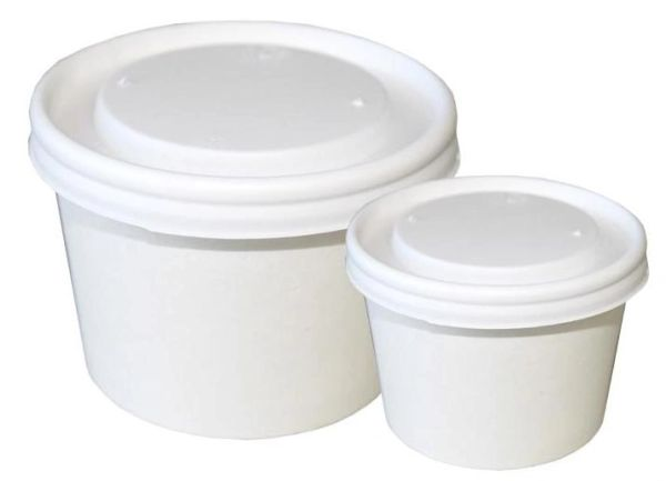 Lids for 8oz Plain RR Paper Food Containers - Opaque Lids - 1000/CS