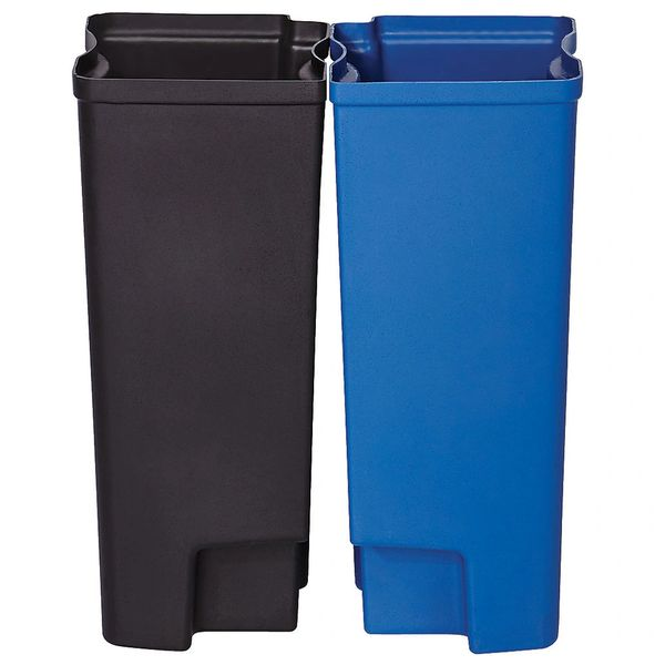 Rubbermaid - 1902007 - Dual Liner For Slim Jim Metal Endstep - Black/Blue
