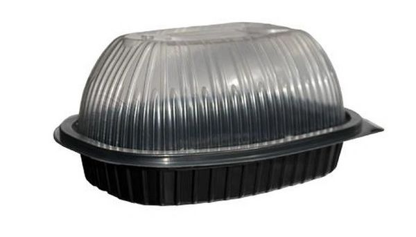 Chicken Roaster Containers - Black Base & Clear Lid