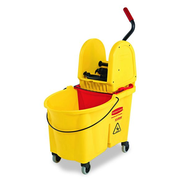 Rubbermaid [7577-88] WaveBrake 35 Qt. Yellow Down-Press Combo Mop Bucket and Wringer Set