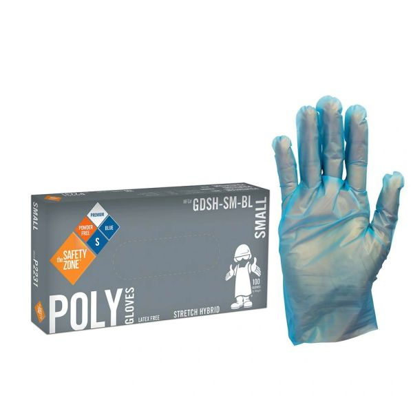 BLUE STRETCH HYBRID POLY GLOVES - 100/PK