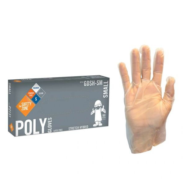 CLEAR STRETCH HYBRID POLY GLOVES - 100/PK