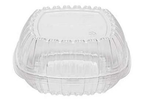 "Pactiv - Clear Hinged Lid Container - [1050] - 5-1/4"" x 5-1/4"" x 2-1/2"""