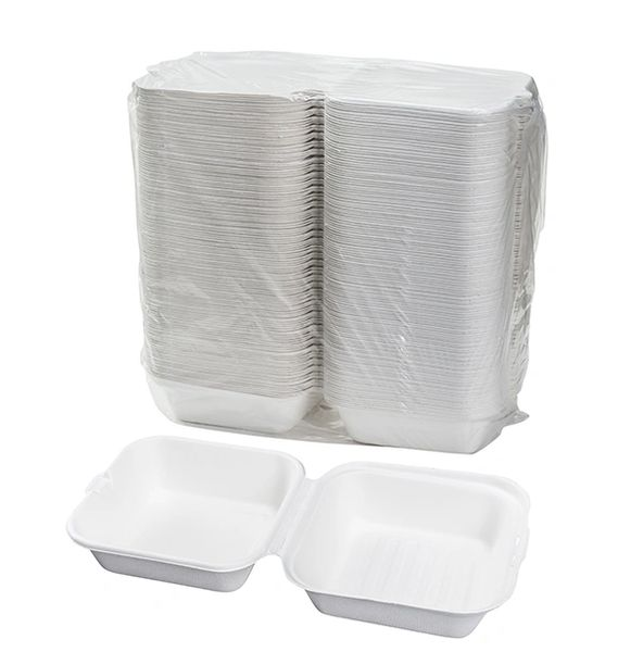 "TOUCH - [12-111] - 6"" BAGASSE HAMBURGER CONTAINER - 500/CS"