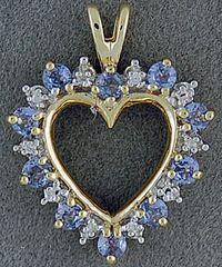 Diamond and Blue Stone Heart Pendant