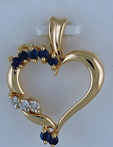 Ladies 1/10ctdw Diamond and Sapphire Heart Pendant