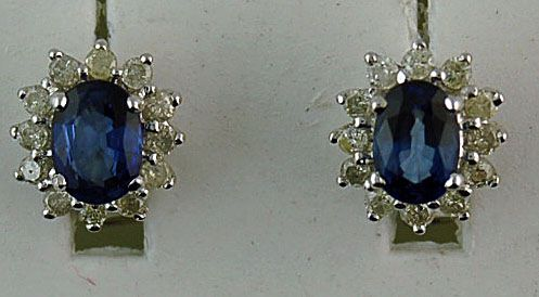 2-1/2ctgw Diamond and Sapphire Earrings