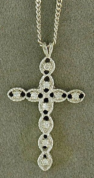 "18"" Oval Link Chain with a 1/10ctw Diamond Cross Pendant"
