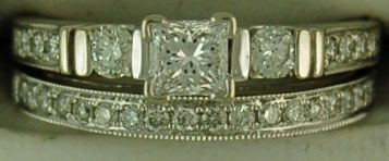 Ladies 1ctw Princess and Round Cut Diamond Wedding and Engagement Set