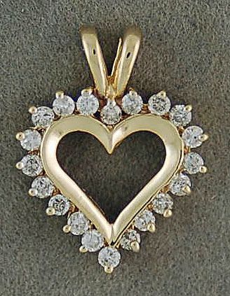3/8tw Diamond Heart Pendant