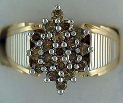 Ladies 1ctw Yellow Diamond Cluster Ring
