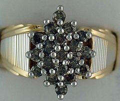 Ladies 1ctw Coin Edge Diamond Cluster Ring