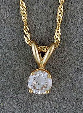 3/8ct Round Cut Diamond Pendant on a Chain