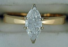 Ladies 3/4ct Marquise Diamond Solitaire Ring