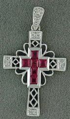 1/3ctgw Diamond and Ruby Cross Pendant
