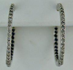 1/2ctdw Diamond and Blue Stone Hoop Earrings
