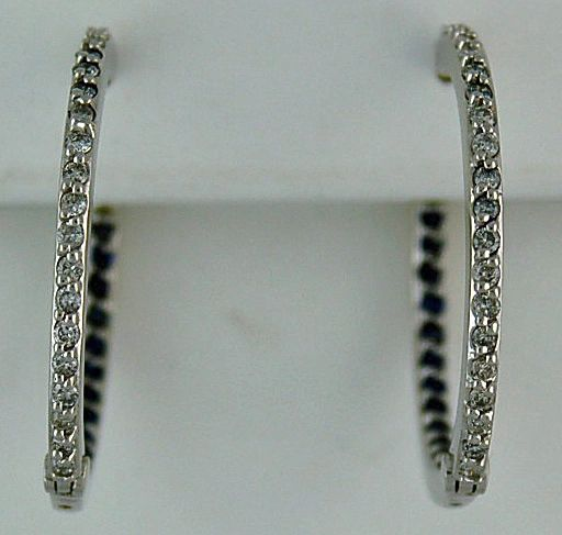 1/2ctdw Diamond and Blue Stone Hoop Earrings