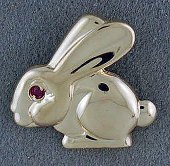 Red Stone Rabbit Pendant